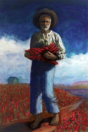 Man with New Mexico chiles